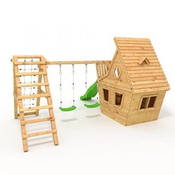 BIBEX® Spielturm - Wunderhäuschen + Rutsche, 2xSchaukel, Knotennetz, Klettersteine, Möbel Grüne Rutsche/Schaukel - 3