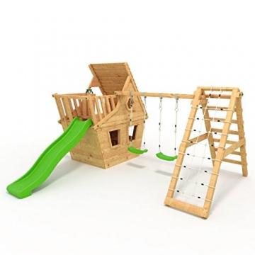 BIBEX® Spielturm - Wunderhäuschen + Rutsche, 2xSchaukel, Knotennetz, Klettersteine, Möbel Grüne Rutsche/Schaukel - 4