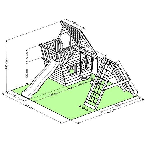 BIBEX® Spielturm - Wunderhäuschen + Rutsche, 2xSchaukel, Knotennetz, Klettersteine, Möbel Grüne Rutsche/Schaukel - 6