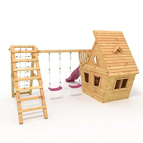 BIBEX® Spielturm - Wunderhäuschen + Rutsche, 2xSchaukel, Knotennetz, Klettersteine, Möbel Lila/Violet Rutsche/Schaukel - 3