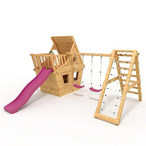 BIBEX® Spielturm - Wunderhäuschen + Rutsche, 2xSchaukel, Knotennetz, Klettersteine, Möbel Lila/Violet Rutsche/Schaukel - 4