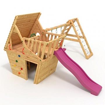 BIBEX® Spielturm - Wunderhäuschen + Rutsche, 2xSchaukel, Knotennetz, Klettersteine, Möbel Lila/Violet Rutsche/Schaukel - 1
