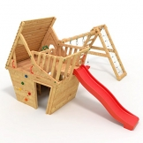 BIBEX® Spielturm - Wunderhäuschen + Rutsche, 2xSchaukel, Knotennetz, Klettersteine, Möbel Rote Rutsche/Schaukel - 1