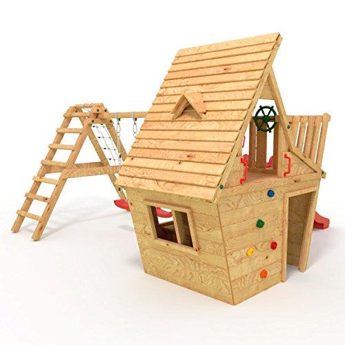 BIBEX® Spielturm - Wunderhäuschen + Rutsche, 2xSchaukel, Knotennetz, Klettersteine, Möbel Rote Rutsche/Schaukel - 2