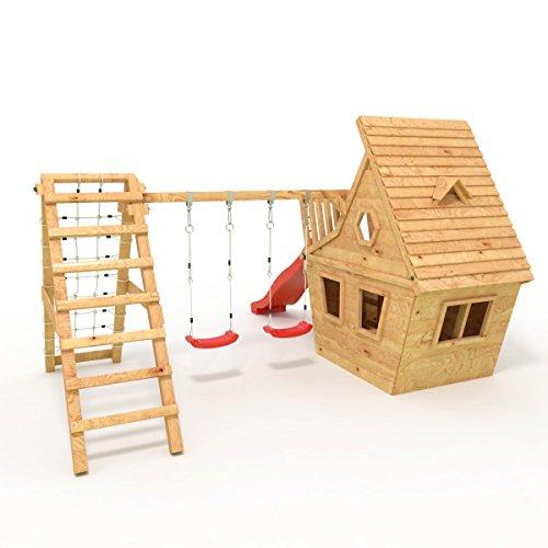 BIBEX® Spielturm - Wunderhäuschen + Rutsche, 2xSchaukel, Knotennetz, Klettersteine, Möbel Rote Rutsche/Schaukel - 3