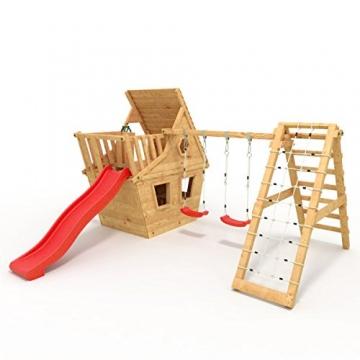 BIBEX® Spielturm - Wunderhäuschen + Rutsche, 2xSchaukel, Knotennetz, Klettersteine, Möbel Rote Rutsche/Schaukel - 4