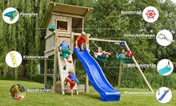 Blue Rabbit 2.0 Spielturm BEACH HUT mit Rutsche 2,30 m oder 2,90 m inkl. Wasseranschluss, Kletterwand mit Klettersteinen, Doppelschaukel - Kletterturm, Stelzenhaus - 4
