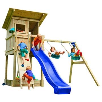 Blue Rabbit 2.0 Spielturm BEACH HUT mit Rutsche 2,30 m oder 2,90 m inkl. Wasseranschluss, Kletterwand mit Klettersteinen, Doppelschaukel - Kletterturm, Stelzenhaus - 1