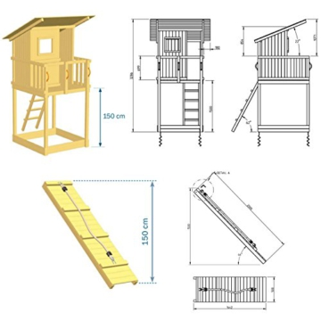 Blue Rabbit 2.0 Spielturm BEACH HUT mit Rutsche 2,90 m + Kletterrampe + Doppelschaukel Kletterturm Holzturm Kiefer MASSIVHOLZ imprägniert (Rot) - 2