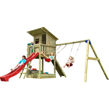Blue Rabbit 2.0 Spielturm BEACH HUT mit Rutsche 2,90 m + Kletterrampe + Doppelschaukel Kletterturm Holzturm Kiefer MASSIVHOLZ imprägniert (Rot) - 1