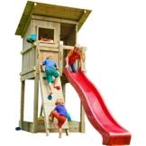 Blue Rabbit 2.0 Spielturm BEACH HUT mit Rutsche + Kletterwand Fernrohr Lenkrad Kletterturm Holzturm aus Kiefer MASSIVHOLZ imprägniert (Rot) - 1