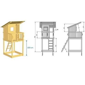 Blue Rabbit 2.0 Spielturm BEACH HUT mit Rutsche + Kletterwand Fernrohr Lenkrad Kletterturm Holzturm aus Kiefer MASSIVHOLZ imprägniert (Rot) - 4