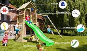 Blue Rabbit 2.0 Spielturm BELVEDERE mit Rutsche + Einzelschaukel, Kletterwand, Sandkasten Kletterturm Holzturm mit Holzdach Kiefer MASSIVHOLZ imprägniert (Grün) - 2