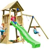 Blue Rabbit 2.0 Spielturm BELVEDERE mit Rutsche + Einzelschaukel, Kletterwand, Sandkasten Kletterturm Holzturm mit Holzdach Kiefer MASSIVHOLZ imprägniert (Grün) - 1