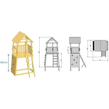Blue Rabbit 2.0 Spielturm BELVEDERE mit Rutsche + Einzelschaukel, Kletterwand, Sandkasten Kletterturm Holzturm mit Holzdach Kiefer MASSIVHOLZ imprägniert (Grün) - 3