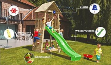 Blue Rabbit 2.0 Spielturm BELVEDERE mit Rutsche Kletterturm mit Kletterwand Glocke Sandkasten Lenkrad und Holzdach (Rutschenlänge 2,90 m, Grün) - 2
