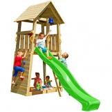 Blue Rabbit 2.0 Spielturm BELVEDERE mit Rutsche Kletterturm mit Kletterwand Glocke Sandkasten Lenkrad und Holzdach (Rutschenlänge 2,90 m, Grün) - 1