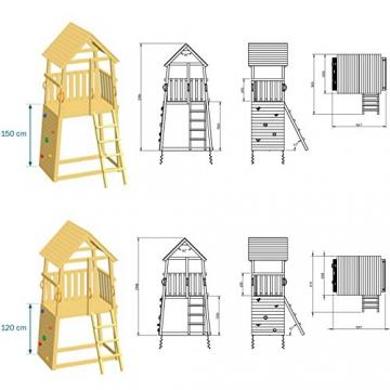 Blue Rabbit 2.0 Spielturm BELVEDERE mit Rutsche Kletterturm mit Kletterwand Glocke Sandkasten Lenkrad und Holzdach (Rutschenlänge 2,90 m, Grün) - 3