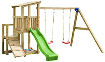 Blue Rabbit 2.0 Spielturm CASCADE mit Rutsche 2,30 m + Kletterrampe + Doppelschaukel Spielhaus Kletterturm Spielplatz Kiefer MASSIVHOLZ imprägniert (Grün) - 1