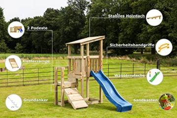 Blue Rabbit 2.0 Spielturm CASCADE mit Rutsche 2,30 m + Kletterrampe Spielhaus Kletterturm Spielplatz Kiefer MASSIVHOLZ imprägniert (Blau) - 2