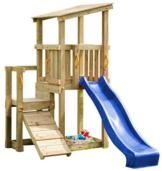 Blue Rabbit 2.0 Spielturm CASCADE mit Rutsche 2,30 m + Kletterrampe Spielhaus Kletterturm Spielplatz Kiefer MASSIVHOLZ imprägniert (Blau) - 1