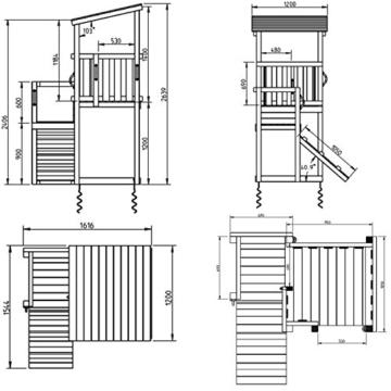 Blue Rabbit 2.0 Spielturm CASCADE mit Rutsche 2,30 m + Kletterrampe Spielhaus Kletterturm Spielplatz Kiefer MASSIVHOLZ imprägniert (Blau) - 3