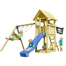 Blue Rabbit 2.0 Spielturm Kiosk mit Rutsche + Doppelschaukel Kletterturm mit 2 Schaukeln Glocke Sandkasten Lenkrad Fahne Teleskop und Holzdach (Rutschenlänge 2,90 m, Blau) - 1