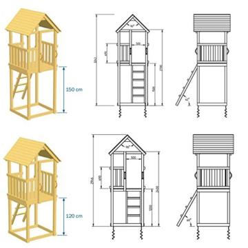 Blue Rabbit 2.0 Spielturm Kiosk mit Rutsche + Doppelschaukel Kletterturm mit 2 Schaukeln Glocke Sandkasten Lenkrad Fahne Teleskop und Holzdach (Rutschenlänge 2,90 m, Gelb) - 2