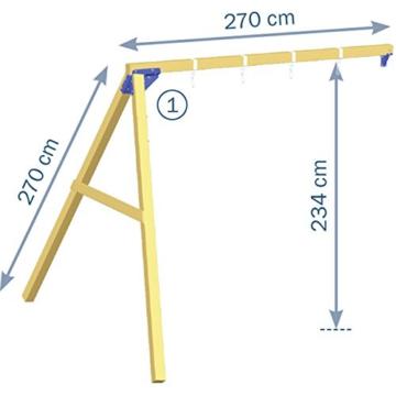 Blue Rabbit 2.0 Spielturm Kiosk mit Rutsche + Doppelschaukel Kletterturm mit 2 Schaukeln Glocke Sandkasten Lenkrad Fahne Teleskop und Holzdach (Rutschenlänge 2,90 m, Gelb) - 3