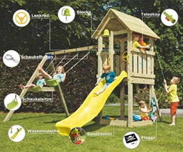 Blue Rabbit 2.0 Spielturm Kiosk mit Rutsche + Doppelschaukel Kletterturm mit 2 Schaukeln Glocke Sandkasten Lenkrad Fahne Teleskop und Holzdach (Rutschenlänge 2,90 m, Gelb) - 4