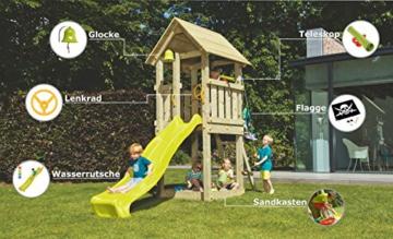 Blue Rabbit 2.0 Spielturm KIOSK mit Rutsche Kletterturm Glocke Sandkasten Lenkrad Piratenflagge Teleskop und Holzdach (Podesthöhe 1,20 m, Rutsche GELB) - 2