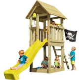 Blue Rabbit 2.0 Spielturm KIOSK mit Rutsche Kletterturm Glocke Sandkasten Lenkrad Piratenflagge Teleskop und Holzdach (Podesthöhe 1,20 m, Rutsche GELB) - 1