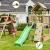 Blue Rabbit 2.0 Spielturm PAGODA mit Rutsche 2,90 m, 3 Kletterwände + Doppelschaukel inkl. 2 Schaukelsitze 70 kg belastbar Kletterturm Kiefer MASSIVHOLZ imprägniert (Grün) - 2