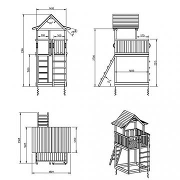 Blue Rabbit 2.0 Spielturm PAGODA mit Rutsche 2,90 m, 3 Kletterwände + Doppelschaukel inkl. 2 Schaukelsitze 70 kg belastbar Kletterturm Kiefer MASSIVHOLZ imprägniert (Grün) - 3