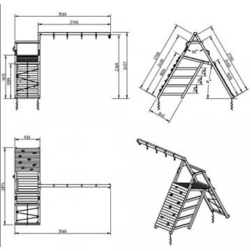 Blue Rabbit 2.0 Spielturm PAGODA mit Rutsche 2,90 m, 3 Kletterwände + Doppelschaukel inkl. 2 Schaukelsitze 70 kg belastbar Kletterturm Kiefer MASSIVHOLZ imprägniert (Grün) - 4