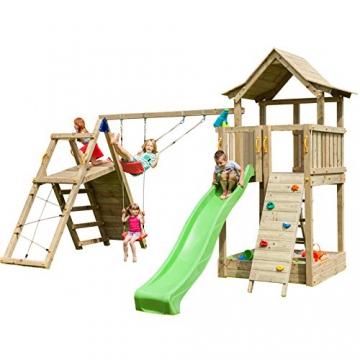Blue Rabbit 2.0 Spielturm PAGODA mit Rutsche 2,90 m, 3 Kletterwände + Doppelschaukel inkl. 2 Schaukelsitze 70 kg belastbar Kletterturm Kiefer MASSIVHOLZ imprägniert (Grün) - 1