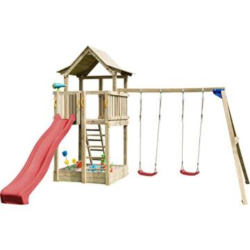 Blue Rabbit 2.0 Spielturm PAGODA mit Rutsche 2,90 m + Doppelschaukel Podest 1,60 x 1,40 m, 2 Schaukelsitze belastbar bis 70 kg, Kiefer MASSIVHOLZ imprägniert (Rot) - 1