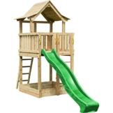 Blue Rabbit 2.0 Spielturm PAGODA mit Rutsche 2,90 m großes Podest 1,60 x 1,40 m Kletterturm Holzturm Spielplatz Kiefer imprägniert (Grün) - 1