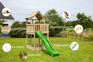Blue Rabbit 2.0 Spielturm PAGODA mit Rutsche 2,90 m großes Podest 1,60 x 1,40 m Kletterturm Holzturm Spielplatz Kiefer imprägniert (Grün) - 3