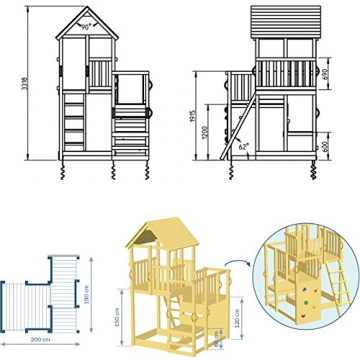 Blue Rabbit 2.0 Spielturm Penthouse mit Rutsche 2,90 m + Babyrutsche + Kletternetz Farbe Grün - 3