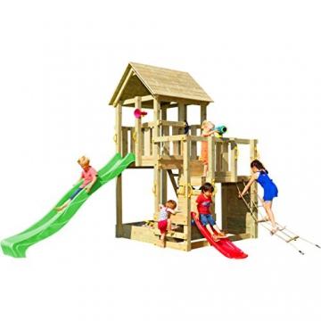 Blue Rabbit 2.0 Spielturm Penthouse mit Rutsche 2,90 m + Babyrutsche + Kletternetz Farbe Grün - 1