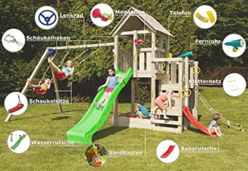 Blue Rabbit 2.0 Spielturm PENTHOUSE mit Rutsche und Doppelschaukel Babyrutsche Kletternetz Fernglas Kletterwand Kletterturm mit Holzdach (Rutsche GRÜN) - 2