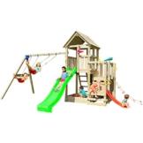 Blue Rabbit 2.0 Spielturm PENTHOUSE mit Rutsche und Doppelschaukel Babyrutsche Kletternetz Fernglas Kletterwand Kletterturm mit Holzdach (Rutsche GRÜN) - 1