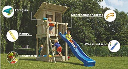 Blue Rabbit Spielturm Beach Hut mit Rutsche + Rampe mit Seil Kletterturm Holzturm Stelzenhaus mit Wasserrutsche, Fernrohr und Kletterrampe mit Seil (Podesthöhe 1,20 m, Blau) - 2