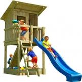 Blue Rabbit Spielturm Beach Hut mit Rutsche + Rampe mit Seil Kletterturm Holzturm Stelzenhaus mit Wasserrutsche, Fernrohr und Kletterrampe mit Seil (Podesthöhe 1,20 m, Blau) - 1