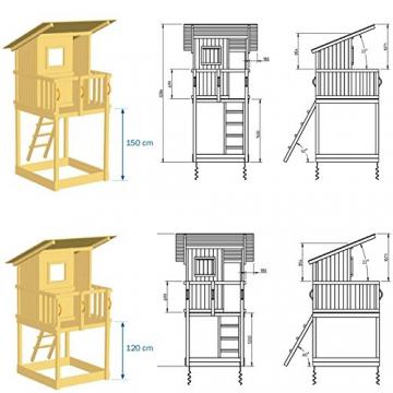 Blue Rabbit Spielturm Beach Hut mit Rutsche + Rampe mit Seil Kletterturm Holzturm Stelzenhaus mit Wasserrutsche, Fernrohr und Kletterrampe mit Seil (Podesthöhe 1,20 m, Blau) - 3