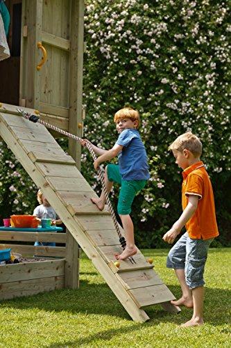 Blue Rabbit Spielturm Beach Hut mit Rutsche + Rampe mit Seil Kletterturm Holzturm Stelzenhaus mit Wasserrutsche, Fernrohr und Kletterrampe mit Seil (Podesthöhe 1,20 m, Blau) - 5