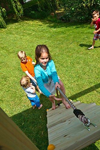 Blue Rabbit Spielturm Beach Hut mit Rutsche + Rampe mit Seil Kletterturm Holzturm Stelzenhaus mit Wasserrutsche, Fernrohr und Kletterrampe mit Seil (Podesthöhe 1,20 m, Blau) - 6