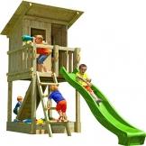 Blue Rabbit Spielturm Beach Hut mit Rutsche + Rampe mit Seil Kletterturm Holzturm Stelzenhaus mit Wasserrutsche, Fernrohr und Kletterrampe mit Seil (Podesthöhe 1,20 m, Grün) - 1