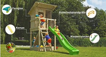Blue Rabbit Spielturm Beach Hut mit Rutsche + Rampe mit Seil Kletterturm Holzturm Stelzenhaus mit Wasserrutsche, Fernrohr und Kletterrampe mit Seil (Podesthöhe 1,20 m, Grün) - 2